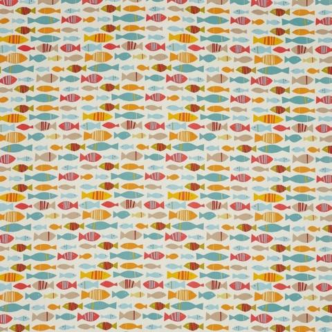 Pour commande sur mesure coloris tissu enduit poissons multicolores