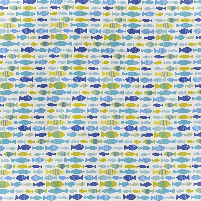 Pour commande sur mesure toile enduite motifs poissons bleus