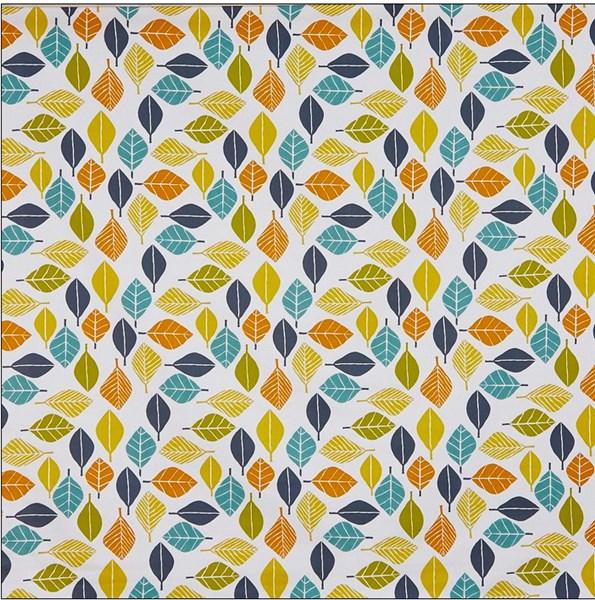 Pour commande sur mesure toile enduite feuilles jaunes, oranges et vertes