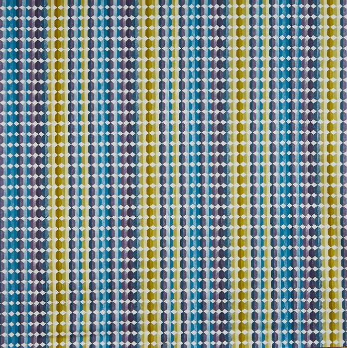 Commande sur mesure toile enduite géométrique bleu vert